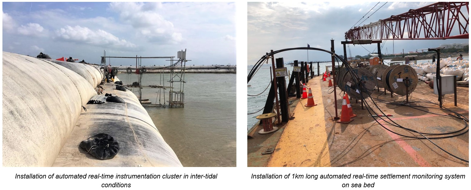 Geotechnical Instrumentation and Monitoring-Installation of automated real-time instrumentation cluster in inter-tidal conditions and 1km on sea bed Company-companies Singapore_Geonamics (S) Pte Ltd
